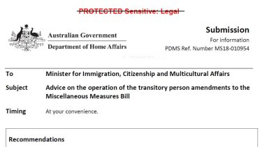 The cover sheet of the classified Home Affairs advice that triggered a referral to the AFP.