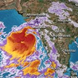 Cyclone Vayu approaches India's west coast.