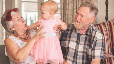 John and Felicity Howard looking after their 16 month old granddaughter Ripley.