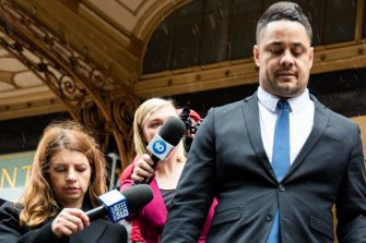 Jarryd Hayne walks out of court last month after he was found guilty of two counts of sexual intercourse without consent.