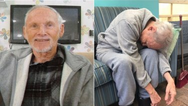 Terry Reeves, left, before he went into aged care, and right, an image published on ABC's 7.30 report, showed how his health deteriorated in care.