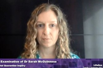 Dr Sarah McGuinness before the inquiry on Tuesday.