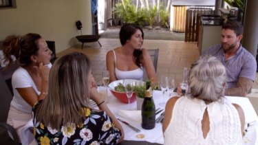 Tamara and Dan have lunch with his mother (far left) and two sisters.