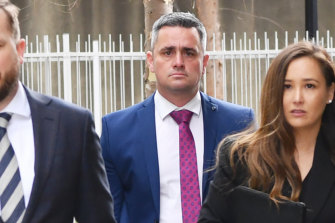Detective Leading Senior Constable Murray Gentner arrives at court last year to give evidence in the Bourke Street inquest.
