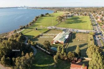 Aerial view of Tompkins Park Wave Park Project site.