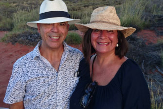 Kris Ferguson and his wife Marcia Ferguson-Roa in Uluru in 2017.