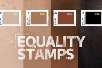 Spain's skin-tone stamps - with the lightest ones being the most valuable.