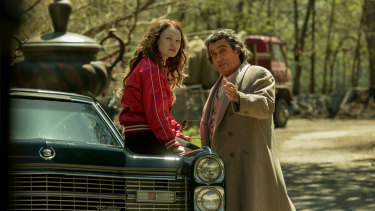 Emily Browning and Ian McShane in American Gods season two.