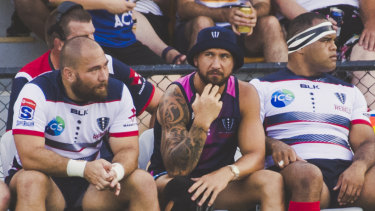 Star recruit: Quade Cooper watches on from the bench as the Rebels take on the Brumbies at Viking Park.