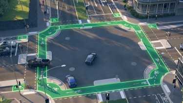 An artist's impression of the protected cycling infrastructure planned for the Albert and Lansdowne streets intersection.