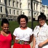 On location in Minnesota, USA: Miranda Tapsell and Nakkiah Lui meet Mary Kunesh Podein (centre) at Minnesota State Capitol.