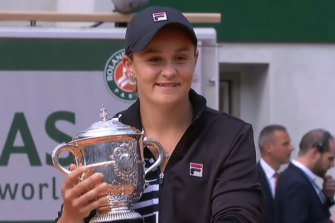 Ash Barty with her French Open trophy last year.