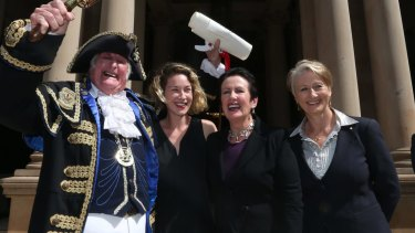 In happier times: Councillor Jess Miller, Sydney lord mayor Clover Moore and Professor Kerryn Phelps on the steps of Town Hall at the proclamation of the 2016 council.
