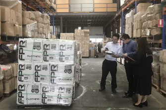 Pictures from the WeChat account ofChinese state-owned property developer Poly Australia shows loads of protective equipment ready to be sent to China.