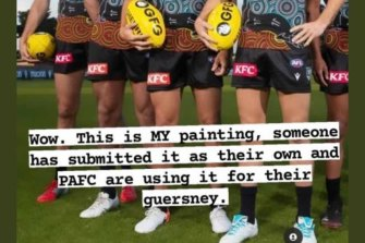 It has been alleged that Port Adelaide's Indigenous jumper features a plagiarised design.