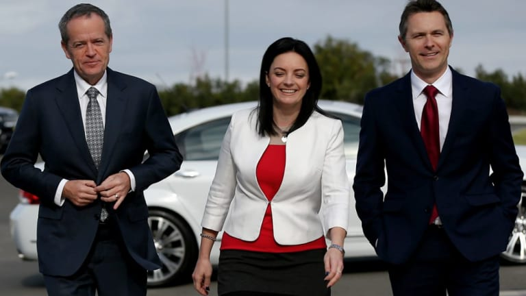 Bill Shorten, Emma Husar and Jason Clare during a visit to the University of Western Sydney in 2016.