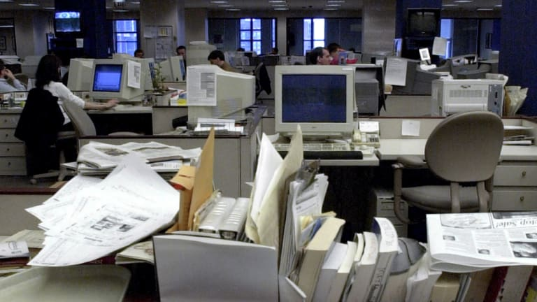 Many newsrooms have so many empty desks, they look like furniture showrooms.