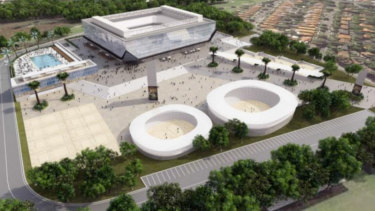 An artist's impression of the volleyball and entertainment stadium.