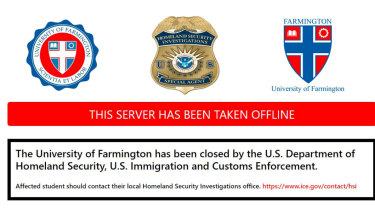 The University of Farmington - an online sting operation aimed at foreigners in the US.