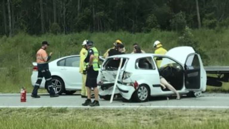 The three-car crash on the Bruce Highway at Palmview.