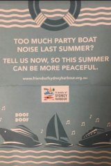 Flyers from the group began to turn up in letterboxes across harbourside suburbs after NYE.