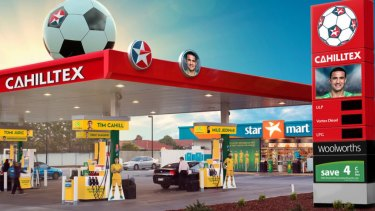 National icon: Caltex have transformed a service station into 'Cahilltex' in honour of the Australian star.