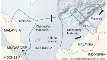 A map showing three of China's nine-dash line, Indonesia's territorial waters and the Natuna Islands.