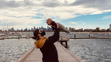 New dad Ben Schnellenberg and his son Levi at St Kilda pier last week.