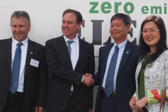 "Former Brighsun chief executive Allen Saylav, former climate change minister Greg Hunt, Brighsun director Kejun ""Kevin"" Huang and Gladys Liu."