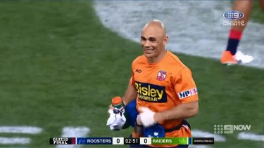 Roosters trainer Travis Touma saw the funny side after being hit with the ball in the NRL grand final.