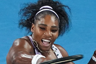 Serena Williams slams a shot back at Tamara Zidansek.