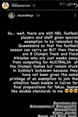"""Many former and current Olympians like Sally Pearson are accusing the Queensland government of """"double standards"""" in allowing 400 NRL members to relocate to the state while eight athletics athletes remain stranded in Greater Sydney thanks to COVID-19."""