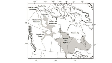 The approximate maximum extents of major glacial lakes that formed from the retreat of the western Laurentide Ice Sheet.