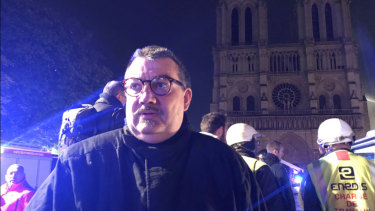Father Fournier, the Fire Department Chaplain who saved the Blessed Sacrament and Crown of Thorns from the Notre-Dame Cathedral fire.