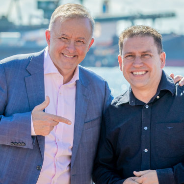 Federal Opposition Leader Anthony Albanese with Flynn Labor candidate and Gladstone mayor Matt Burnett.