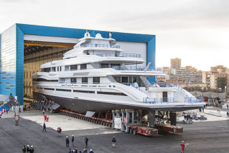 Ready to launch: James Packer's $200 million runabout while under construction in Italy.