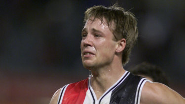 An emotional Max Hudghton after a loss in 2000.