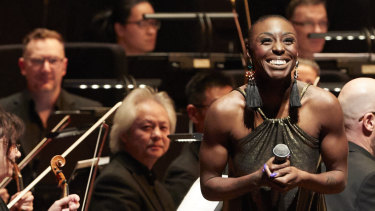 Laura Mvula with the Melbourne Symphony Orchestra.