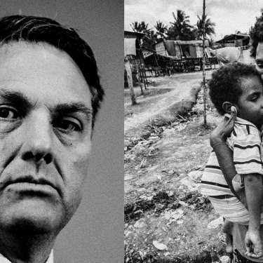 Richard Marles and a mother and child on Daru Island, PNG.