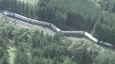Aerial shots of train derailment at Wallan.