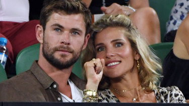 Chris Hemsworth and wife Elsa Pataky during the 2018 Australian Open.