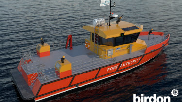 An artist's impression of the new firefighting vessel.