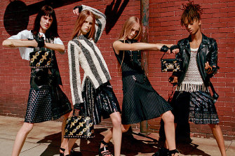 Louis Vuitton's spring 2016 campaign, featuring Jaden Smith at right in a metallic kilt.