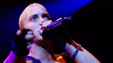 Eminem performing at Rod Laver Arena in 2001.