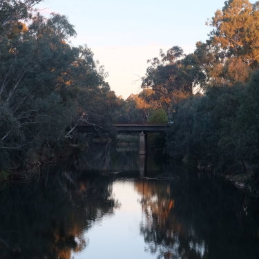 The Ovens River in Wangaratta at dusk.