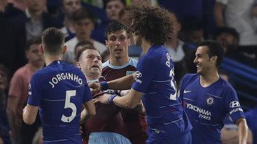 Chelsea's David Luiz and Burnley's Ashley Barnes had a disagreement.