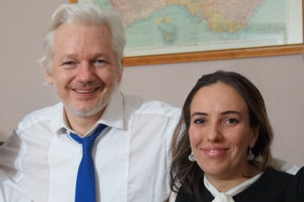 Julian Assange and Stella Moris inside the Ecuadorian embassy, in an undated picture supplied by WikiLeaks.