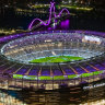 Optus Stadium decked in purple when Perth Glory hosted the city's first A-League Grand Final last year.