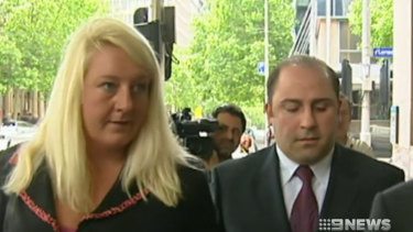 Nicola Gobbo leaves court with drug boss Tony Mokbel.