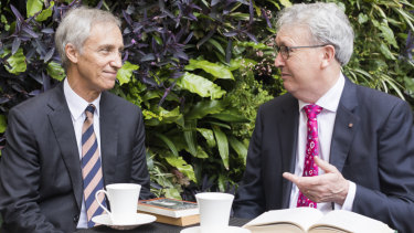 University of Wollongong Vice Chancellor Professor Paul Wellings (right) with Ramsay Centre chief executive, Professor Simon Haines, after a signing the deal with the Ramsay Centre for Western Civilisation.